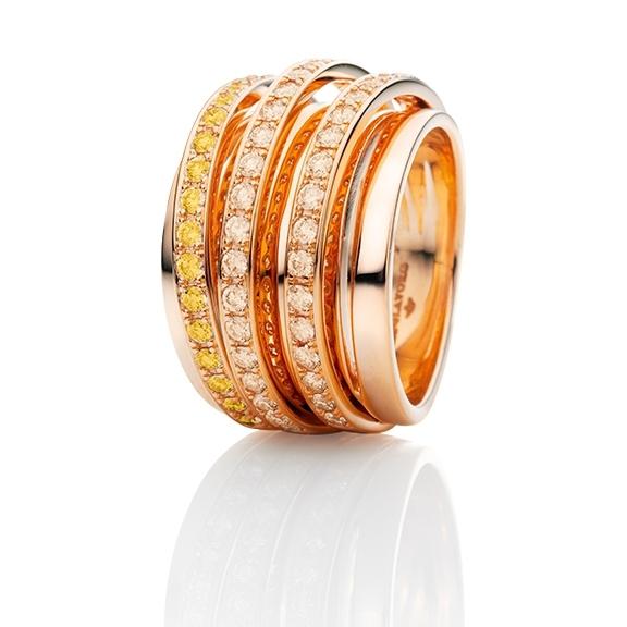 """Ring """"La Donna"""" 750RG, 38 Diamanten Brillant-Schliff 0.80ct light brown, 18 Saphir gelb facettiert 0.50ct"""