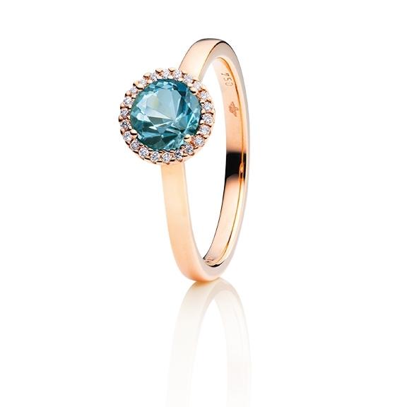 """Ring """"Espressivo"""" 750RG, Aquamarin dunkel facettiert Ø 6.0 mm ca. 0.84ct, 22 Diamanten Brillant-Schliff 0.06ct TW/si1"""