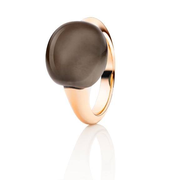 "Ring ""Tramonto"" 750RG, Rauchquarz Cabochon ca. 13.0ct"