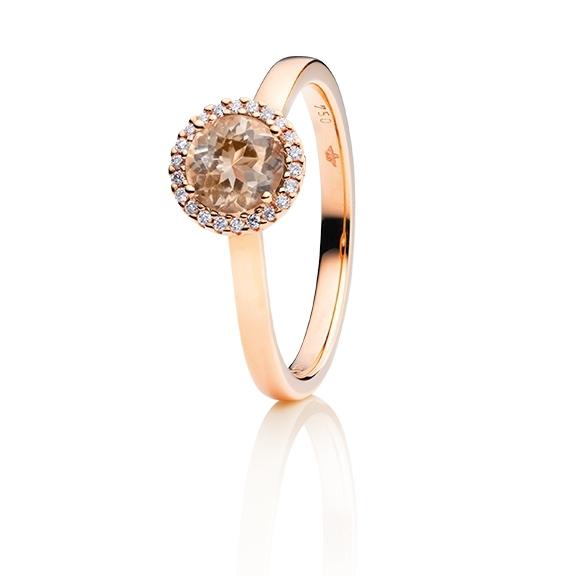 "Ring ""Espressivo"" 750RG, Zimt Beryll facettiert Ø 6.0 mm ca. 0.85ct, 22 Diamanten Brillant-Schliff 0.06ct TW/si1"