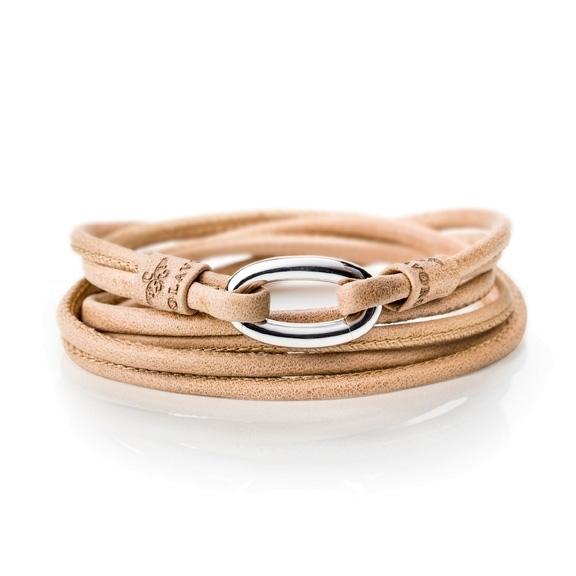 Armband Kalbsleder honig 2-reihig, Ø 3.0 mm, 56.0 cm