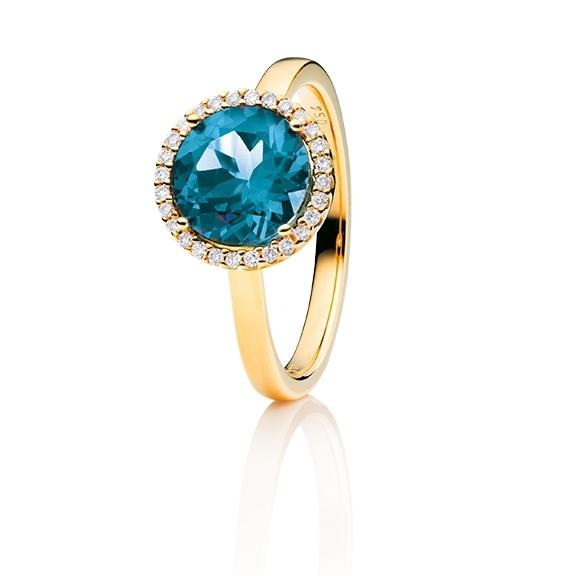 "Ring ""Espressivo"" 750GG, Topas London blue facettiert Ø 9.0 mm ca. 3.00ct, 28 Diamanten Brillant-Schliff 0.10ct TW/si"
