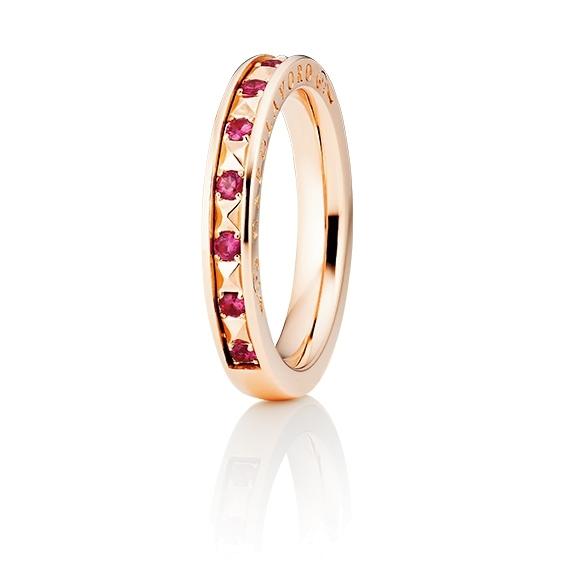 "Ring ""Manhattan"" 750RG, 10 Rubine facettiert ca. 0.23ct"