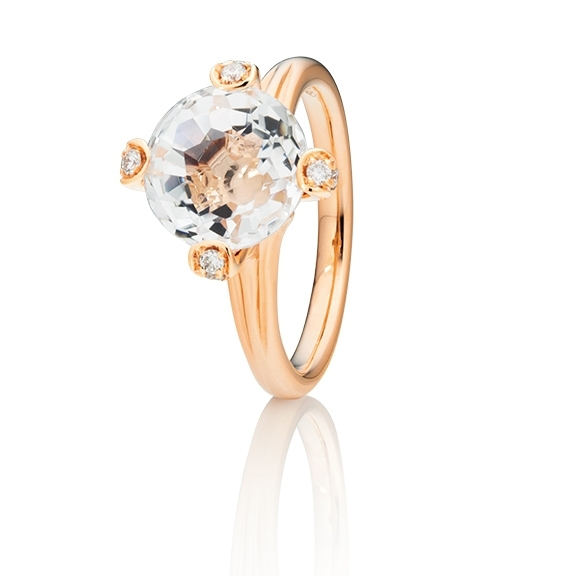 "Ring ""Capriccio"" 750RG, Bergkristall Ø 10.0 mm ca. 4.50ct, 18 Diamanten Brillant-Schliff 0.17ct TW/vs"