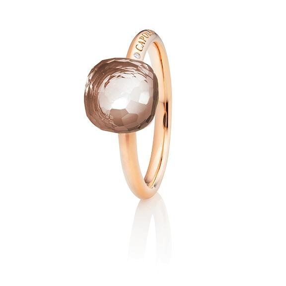 """Ring """"Happy Holi"""" 750RG, Rauchquarz Cabochon  9.0 x 9.0 mm facettiert, ca. 3.80ct, 1 Diamant Brillant-Schiff 0.004ct TW/vs1"""