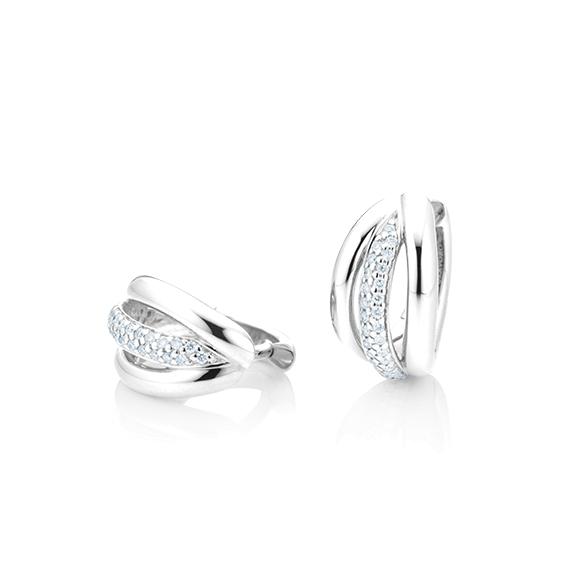 "Ohrcreole ""Cielo"" 750WG, 60 Diamanten Brillant-Schliff 0.18ct TW/si"