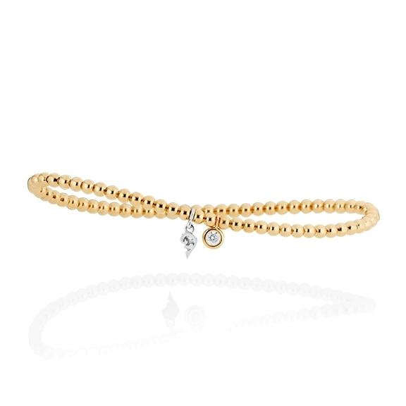 """Armband """"Prosecco d´oro"""" 750GG, 1 Diamant Brillant-Schliff 0.10ct TW/vs, Innenumfang 17.0 cm"""