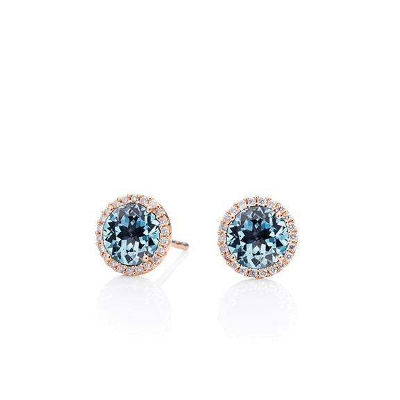 "Ohrstecker ""Espressivo"" 750RG, Topas sky blue facettiert Ø 6.0 mm ca. 1.80ct, 44 Diamanten Brillant-Schliff 0.12ct TW/si1"