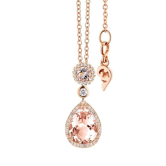 """Collier """"Espressivo"""" 750RG Morganit Tropfen 14.0 x 10.0 mm ca. 4.75ct, Morganit facettiert Ø 6.0 mm ca. 0.85ct, 55 Diamanten Brillant-Schliff 0.40ct TW/si, Länge 45.0 cm Zwischenöse bei 42.0 cm"""