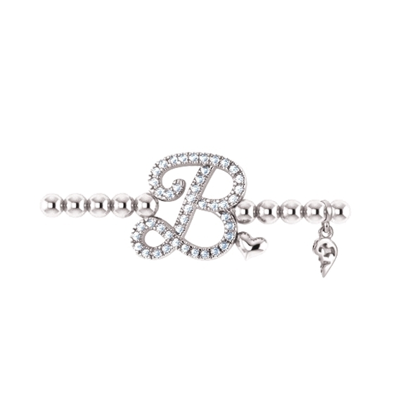 "Armband ""Poesia"" 750WG, Buchstabe ""B"", 44 Diamanten Brillant-Schliff 0.17ct TW/vs1, Innenumfang 17.0 cm"