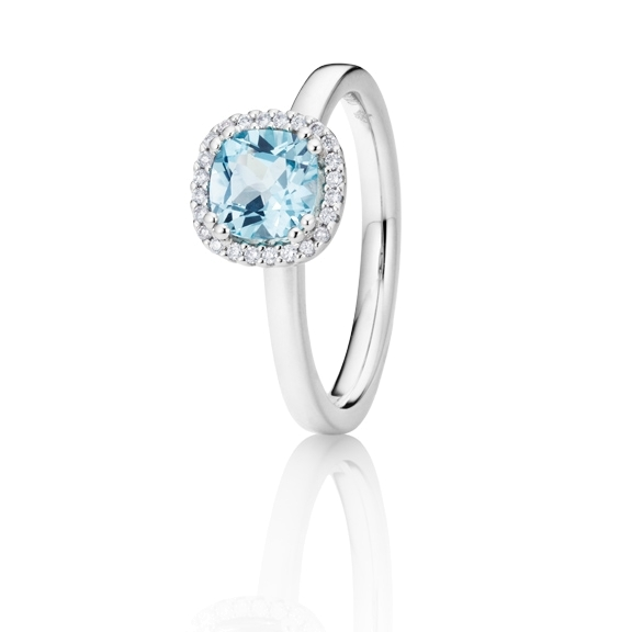"Ring ""Espressivo"" 750WG, Topas sky blue antik 6.0 x 6.0 mm ca. 1.20ct, 24 Diamanten Brillant-Schliff 0.07ct TW/si"
