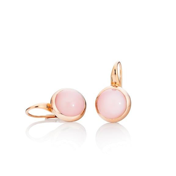 "Ohrhänger ""Velluto"" 750RG, Opal pink Cabochon Ø 11.0 mm ca. 12.00ct"