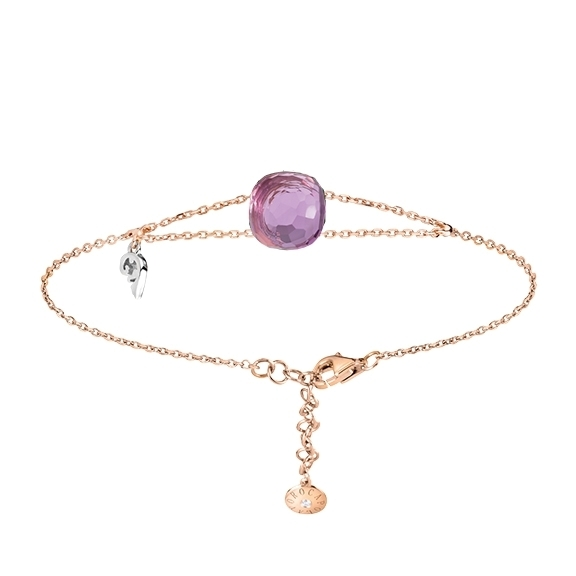 "Armband ""Happy Holi"" 750RG, Amethyst medium Cabochon 9.0 x 9.0 mm ca. 3.80ct, 1 Diamant Brillant-Schliff 0.01ct TW/vs, ""Flügel"" 750WG"