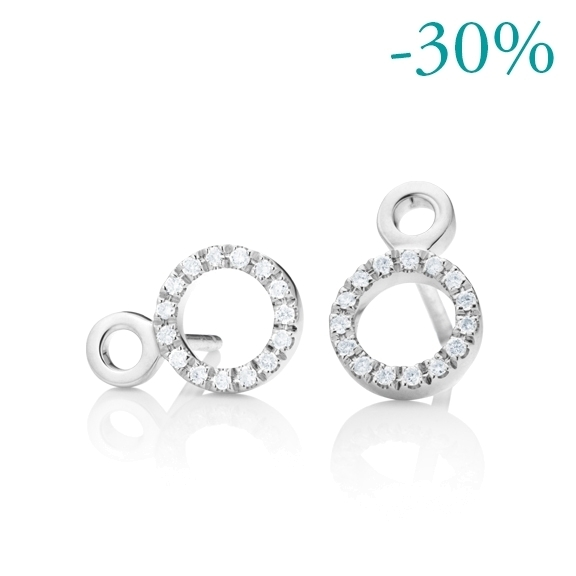 "Ohrstecker ""Rotondo"" 750WG, 30 Diamanten Brillant-Schliff 0.18ct TW/vs"