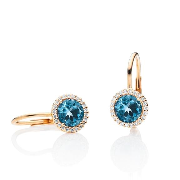 "Ohrhänger ""Espressivo"" 750RG, Topas London blue facettiert Ø 6.0 mm, ca. 2.00ct, 44 Diamanten Brillant-Schliff 0.12ct TW/si"