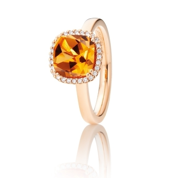 "Ring ""Espressivo"" 750RG, Granat Mandarin antik 8.0 x 8.0 mm ca. 3.20ct, 28 Diamanten Brillant-Schliff 0.11ct TW/si"