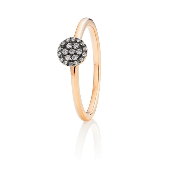 "Ring ""Dolcini"" 750RG, 21 Diamanten Brillant-Schliff 0.10ct grau"