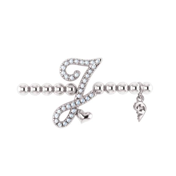 "Armband ""Poesia"" 750WG, Buchstabe ""J"", 34 Brillanten 0,17ct TW/vs1, Innenumfang Ø 17.0 cm"