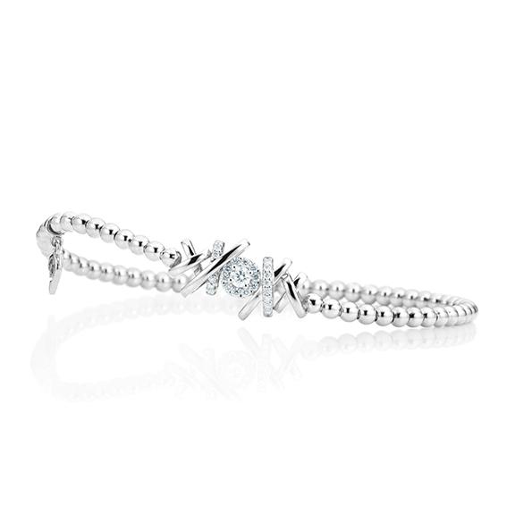 """Armband """"Magnifico"""" 750WG, 1 Diamant Brillant-Schliff 0.10ct TW/si, 24 Diamanten Brillant-Schliff 0.17ct TW/si Innenumfang 17.0 cm"""