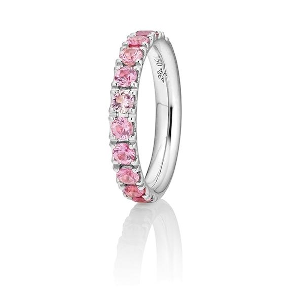 """Ring """"Rainbow"""" 750WG, 11 Saphire pink ca. 1.50ct, 1 Diamant Brillant-Schliff 0.005ct TW/vs1"""