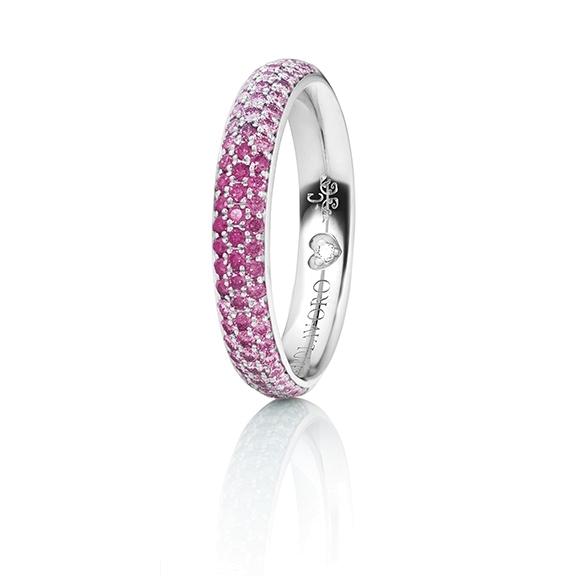 "Ring ""Diamante in Amore"" 750WG Pavé Farbverlauf, 30 Saphir pink light fac. ca. 0.25ct, 24 Rubin Top Ruby fac. ca. 0.20ct, 22 Saphir pink pastel light fac. ca. 0.18ct, 1 Diamant Brillant-Schliff 0.005ct TW/vs1"