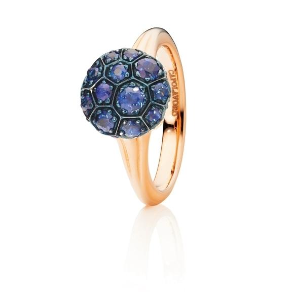"""Ring """"Fiore Magico"""" 750RG Carreaufassung, Saphir blau facettiert ca. 1.30ct"""