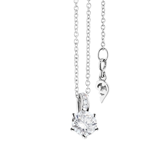 """Collier """"Diamante in Amore"""" 750WG 6-er Krappe, Brillantöse, 1 Diamant Brillant-Schliff 0.40ct TW/vs1 GIA Zertifikat, 5 Diamanten Brillant-Schliff 0.02ct TW/vs1, Länge 45.0 cm, Zwischenöse bei 42.0 cm"""