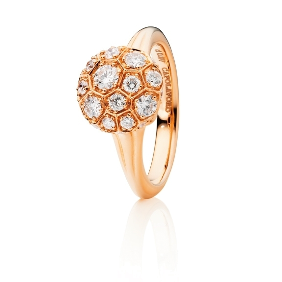 "Ring ""Fiore Magico"" 750RG Carreaufassung, 27 Diamanten Brillant-Schliff 0.97ct TW/vs"