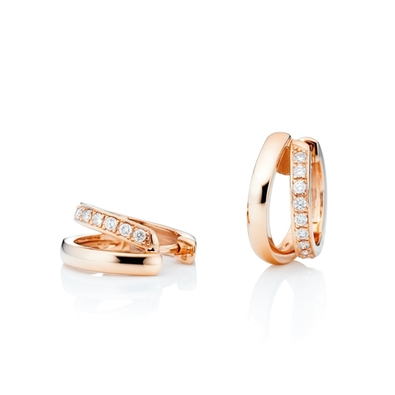 "Ohrcreolen ""La Donna"" 750RG, 22 Diamanten Brillant-Schliff 0.33ct TW/si"