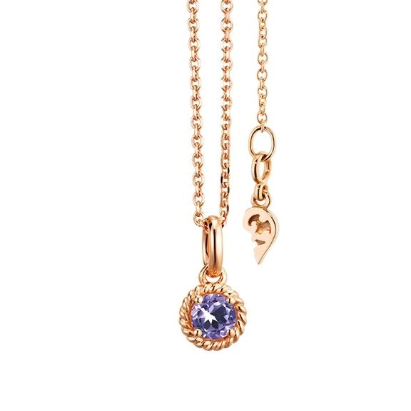 """Collier """"Amore Mio"""" 750RG 1 Saphir lila facettiert Ø 4mm ca. 0.24ct, Länge 45.0 cm, Zwischenöse bei 42.0 cm"""