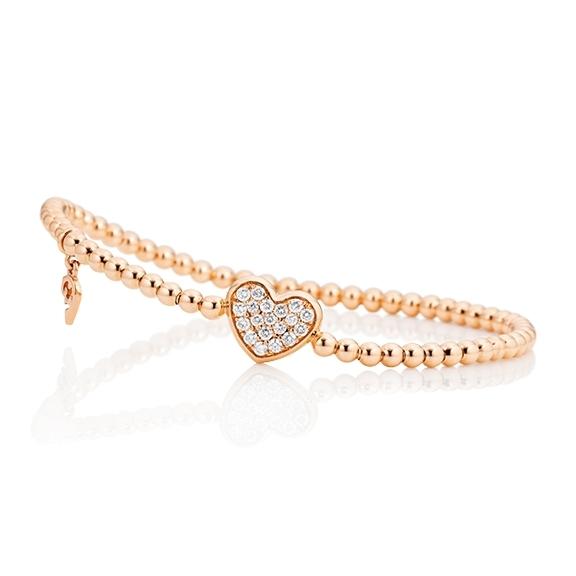 "Armband ""Dolcini Herz"" 750RG, 19 Diamanten Brillant-Schliff 0.27ct TW/vs1, Innenumfang 17.0 cm"