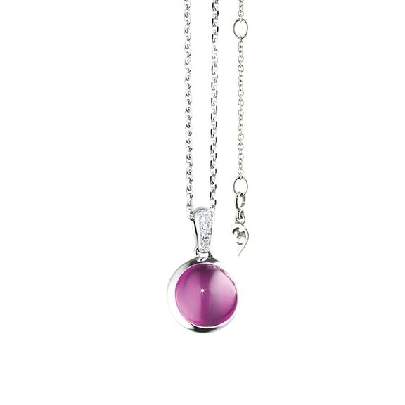 "Anhänger ""Velluto"" 750WG, Granat Royal Purple Cabochon Ø 8.0 mm ca. 2.5ct, 3 Diamanten Brillant-Schliff 0.02ct TW/vs"
