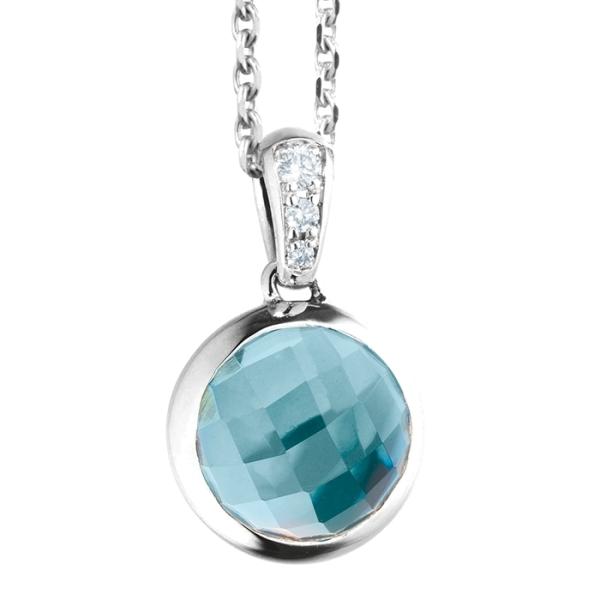 "Anhänger ""Velluto"" 750WG, Topas sky blue facettiert Ø 8.0 mm ca. 2.50ct, 3 Diamanten Brillant-Schliff 0.02ct TW/vs"