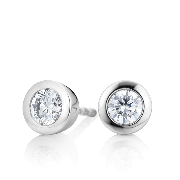 "Ohrstecker ""Diamante in Amore"" 750WG Zargenfassung, 2 Diamanten Brillant-Schliff 1.0ct TW/vs1 GIA Zertifikat"