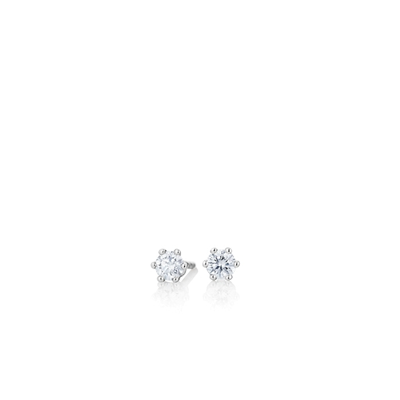 "Ohrstecker ""Diamante in Amore"" 750WG 6-er Krappe, 2 Diamanten Brillant-Schliff 0.1ct TW/vs1"