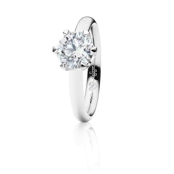 "Ring ""Endless Love"" 750WG 6-er Krappe, 1 Diamant Brillant-Schliff 1.00ct TW/vs1 GIA Zertifikat, 1 Diamant Brillant-Schliff 0.005ct TW/vs1"