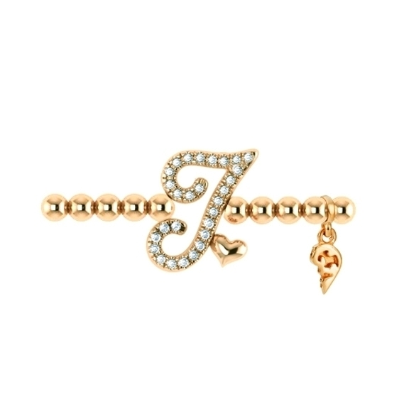 "Armband ""Poesia"" 750RG, Buchstabe ""I"", 28 Diamanten Brillant-Schliff 0.10ct TW/vs1, Innenumfang 17.0 cm"