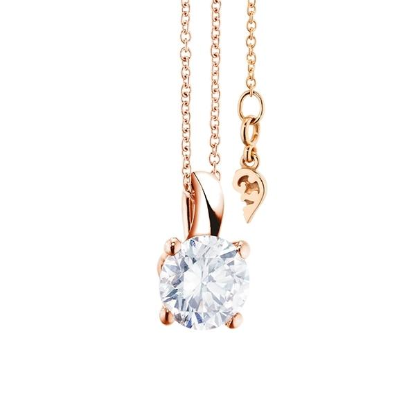 """Collier """"Diamante in Amore"""" 750RG 4-er Krappe, Schlaufe, 1 Diamant Brillant-Schliff 1.00ct TW/vs1 GIA Zertifikat, Länge 45.0 cm, Zwischenöse bei 42.0 cm"""