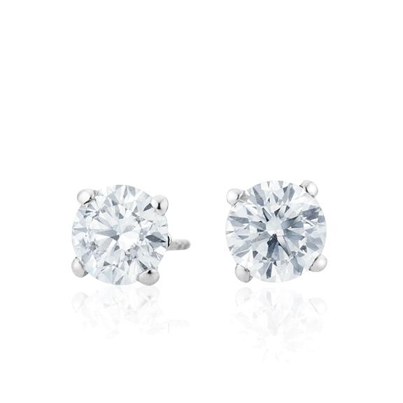 "Ohrstecker ""Diamante in Amore"" 750WG 4-er Krappe, 2 Diamanten Brillant-Schliff á 0.70ct TW/vs1 GIA Zertifikat"