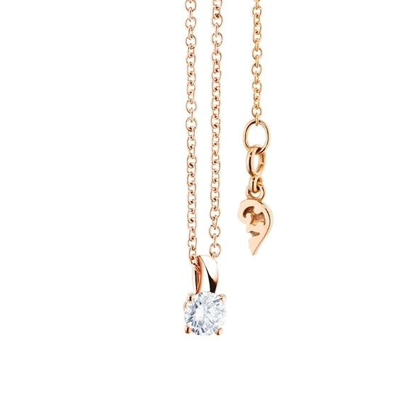 """Collier """"Diamante in Amore"""" 750RG 4-er Krappe, Schlaufe, 1 Diamant Brillant-Schliff 0.20ct TW/vs1, Länge 45.0 cm, Zwischenöse bei 42.0 cm"""