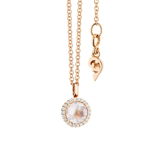 pendant Espressivo 18k rose gold, rose quartz faceted Ø 6 0 mm, 22 diamonds  brilliant cut 0 08ct TW/si