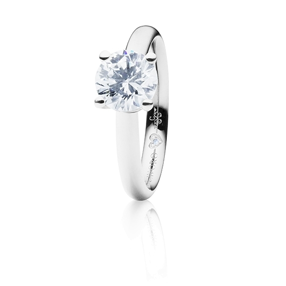 "Ring ""Diamante in Amore"" 750WG 4-er Krappe, 1 Diamant Brillant-Schliff 1.00ct TW/vs1 GIA Zertifikat, 1 Diamant Brillant-Schliff 0.005ct TW/vs1"
