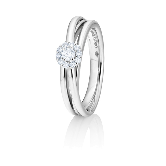 "Ring ""Magnifico"" 750WG,  1 Diamant Brillant-Schliff 0.10ct TW/si, 10 Diamanten Brillant-Schliff 0.10ct TW/si"