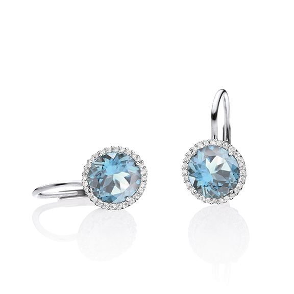 "Ohrhänger ""Espressivo"" 750WG, Topas sky blue facettiert Ø 9.0 mm, 56 Diamanten Brillant-Schliff 0.28ct TW/si"