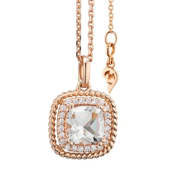 """Anhänger """"Amore mio"""" 750RG, Bergkristall antik 6.0 x 6.0 mm ca. 0.75ct, 24 Diamanten Brillant-Schliff 0.10ct TW/si"""