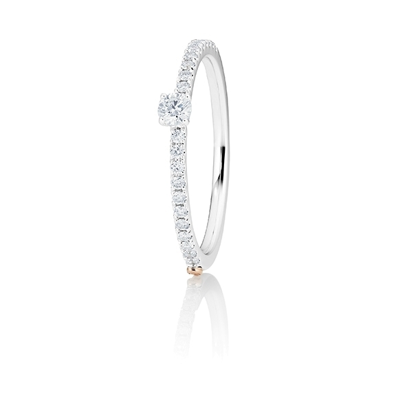 "Ring ""Romantic"" 750WG 4-er Krappe, 1 Diamant Brillant-Schliff 0.10ct TW/vs1, 22 Diamanten Brillant-Schliff 0.17ct TW/vs1"