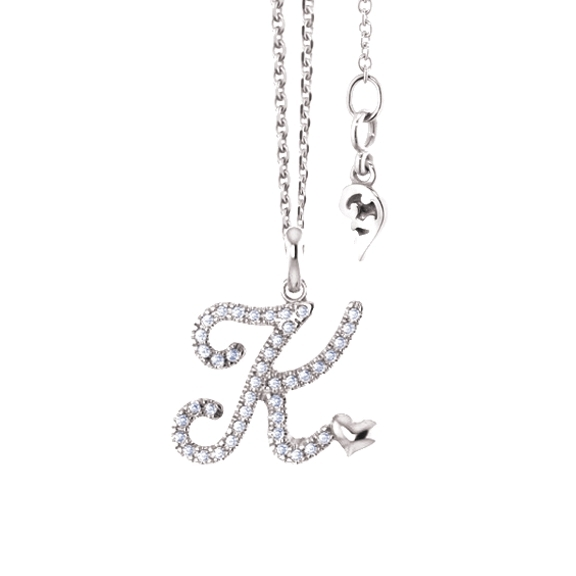 Pendant poesia 18kt white gold letter k 42 diamonds brillant pendant poesia 18kt white gold letter k 42 diamonds brillant cut 015ct twvs diamond pendants necklaces jewellery capolavoro gmbh aloadofball Images