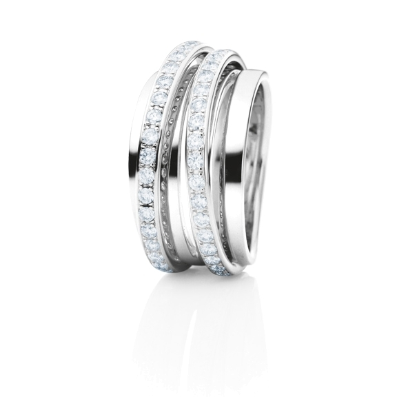 "Ring ""La Donna"" 750WG, 40 Diamanten Brillant-Schliff 0.80ct TW/si"