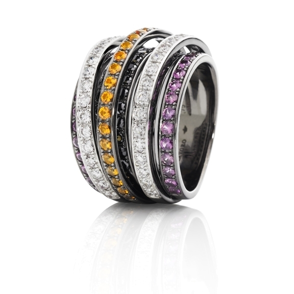 "Ring ""La Donna"" 750WG, Saphir pink / Saphir gelb facettiert ca. 1.6ct, 36 Diamanten Brillant-Schliff 0.90ct TW/si, 34 Diamanten Brillant-Schliff 0.85ct schwarz beh."