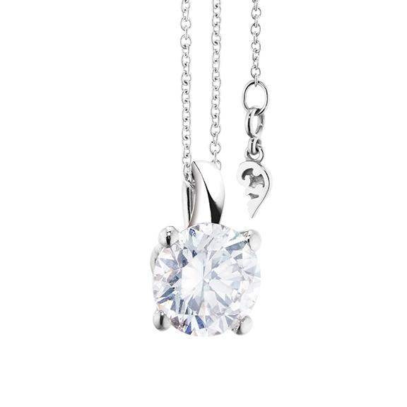 """Collier """"Diamante in Amore"""" 750WG 4-er Krappe, Schlaufe, 1 Diamant Brillant-Schliff 1.50ct TW/vs1 GIA Zertifikat, Länge 45.0 cm, Zwischenöse bei 42.0 cm"""